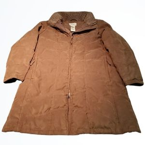L.L. Bean Long Lgt Brown Quilted Down Puffer Coat